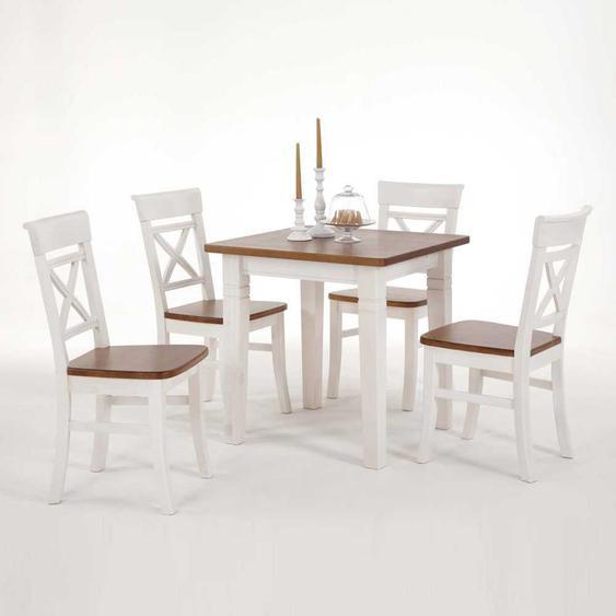 Tischgruppe aus Kiefer Massivholz Weiß-Braun (5-teilig)