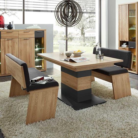 Tischgruppe in Eiche Bianco und Anthrazit 210 cm breit (3-teilig)