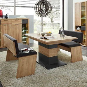 Tischgruppe in Eiche Bianco und Anthrazit 210 cm breit (dreiteilig)