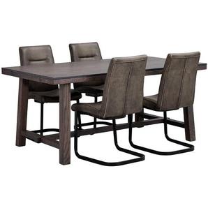 Tischgruppe in Eiche dunkel Grau und Schwarz modern (5-teilig)