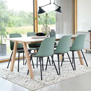 Tischgruppe in Mintgrün und Weiß Skandi Design (siebenteilig)