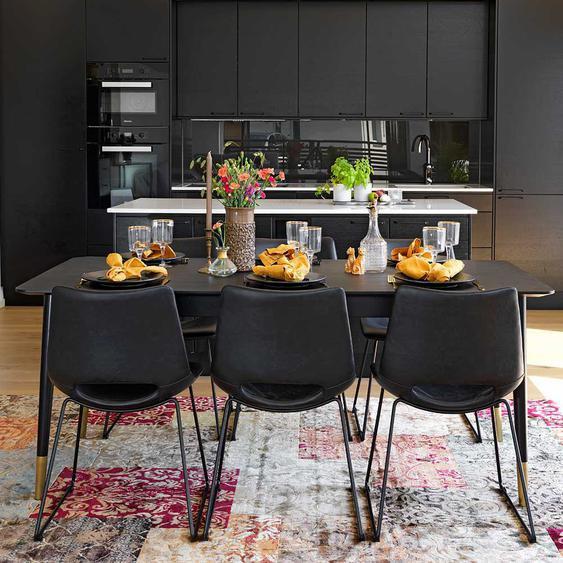 Tischgruppe in Schwarz 260 cm breit (7-teilig)
