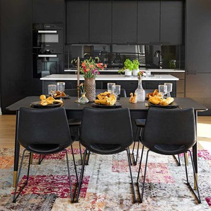 Tischgruppe in Schwarz 260 cm breit (siebenteilig)