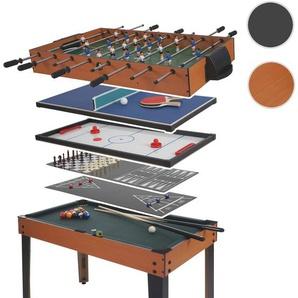 Tischkicker HWC-E12, Tischfussball Billard Hockey 7in1 Multiplayer Spieletisch, 82x107x60cm ~ Buche-Optik