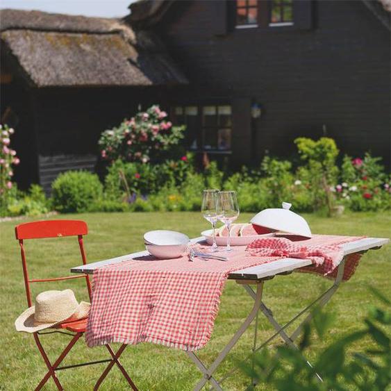 Tischläufer rot weiß kariert - bunt - 100 % Baumwolle - Tischwäsche
