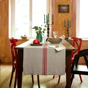 Tischläufer roter Streifen - bunt - 100 % Leinen - Tischwäsche