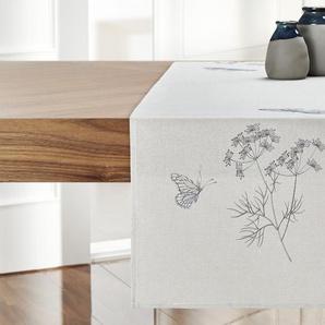 Tischläufer  Schmetterling ¦ grau ¦ 100% Polyester ¦ Maße (cm): B: 40