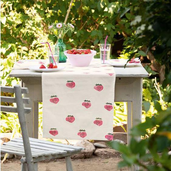 Tischläufer Strawberry - bunt - 100 % Baumwolle - Tischwäsche