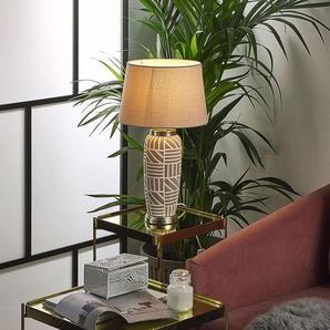 Tischlampe beige 48 cm Trommelform TRAISEN