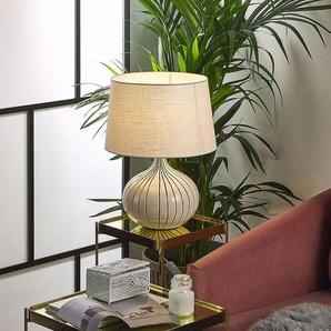 Tischlampe cremeweiß 45 cm Trommelform WIEN