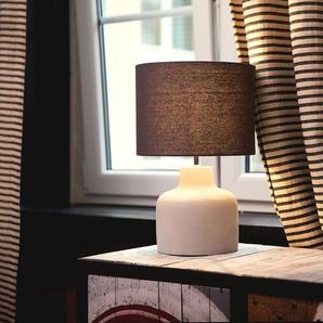 Tischlampe grau 43 cm Trommelform BHIMA