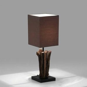 Tischlampe in Braun Stoffschirm und Ästen