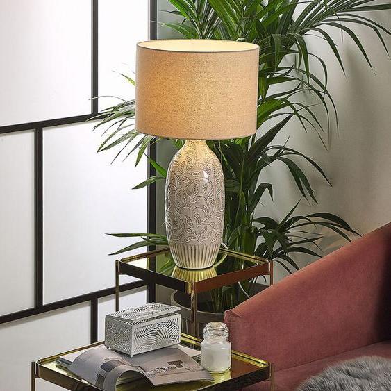 Tischlampe keramisch beige 57 cm SALZA