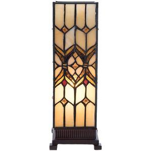 Tischlampe Tiffany | 12*12*35 cm E14/max 1*25W | Gelb | Glas / Polyresin |  | Tiffany Stil braun beige Buntglas Tischlampe Later