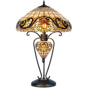 Tischlampe Tiffany | Ø 46*76 cm E27/max 2*60W E14/max 1*7W | Gelb | Metall / Glas |  | Komplette Tischlampe aus braun-beigem Bun