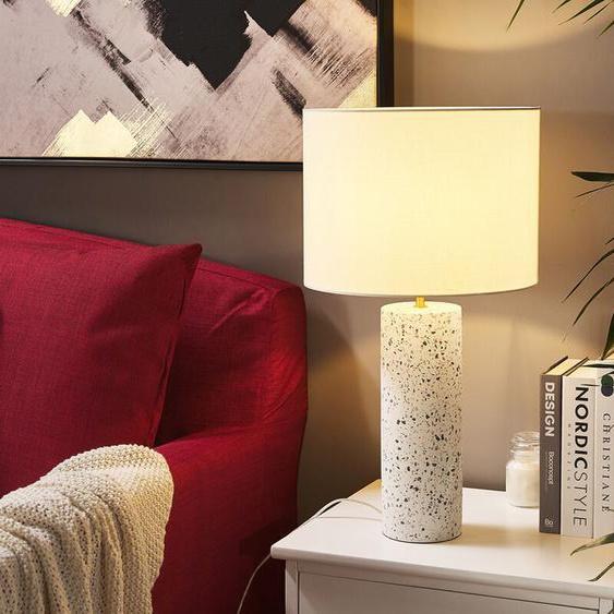 Tischlampe weiß 57 cm Trommelform MIANUS