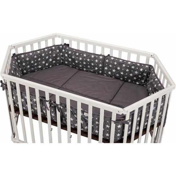 tiSsi Laufgittereinlage Grau mit Sternen Einheitsgröße grau Kinder Laufgitter Babygitter Bettnestchen