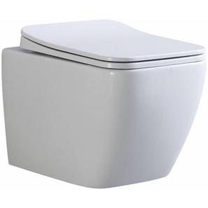 Toilette Hänge WC Spülrandlos inkl. WC Sitz mit Absenkautomatik SOFTCLOSE + abnehmbar CUBE - I-FLAIR