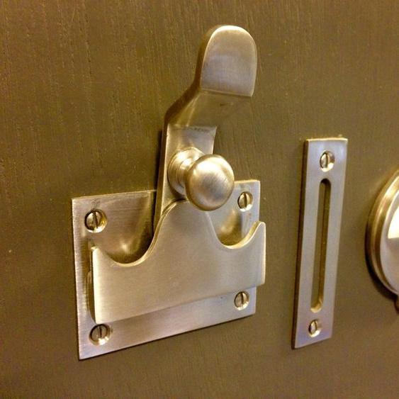 Toiletten Türbeschlag f. Toilettentür Nickel - WC Türen Drehverschluss