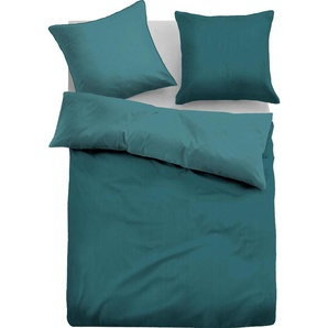 TOM TAILOR Bettwäsche Lisa, zarte Streifen in Uni-Optik B/L: 155 cm x 220 (1 St.), 80 Mako-Satin grün nach Größe Bettwäsche, Bettlaken und Betttücher