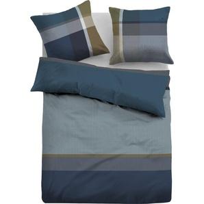 TOM TAILOR Bettwäsche Marlen, im sportlichen Design B/L: 155 cm x 220 (1 St.), 80 Flanell blau nach Größe Bettwäsche, Bettlaken und Betttücher
