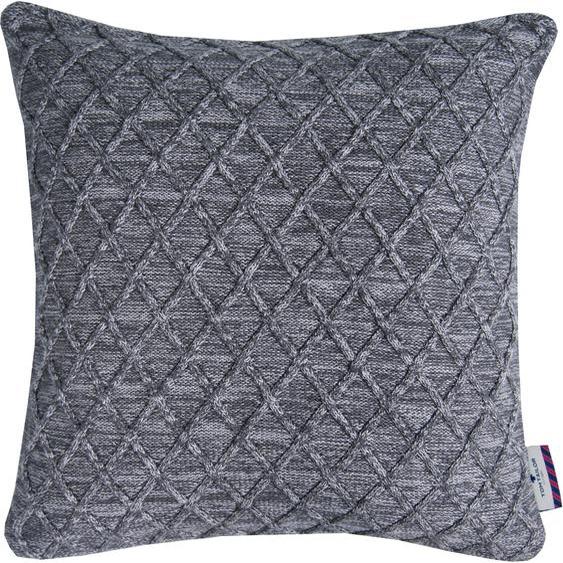 TOM TAILOR Kissenhülle GRAPHIC KNIT 1x 40x40 cm, Baumwolle grau Kissenbezüge gemustert Kissen Kopfkissen