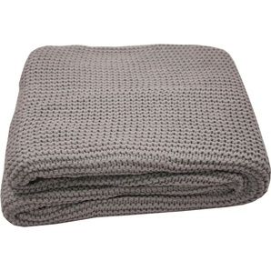 Plaid Plain Knit, TOM TAILOR 0, 130x170 cm, Polyacryl braun Plaids Decken Wohndecken