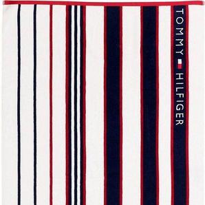 Strandtuch »Rot-blau gestreift«, TOMMY HILFIGER, mit gestickter Tommy Flagge