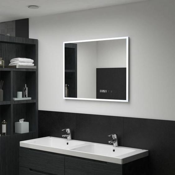 Topdeal LED-Badspiegel mit Touch-Sensor und Zeitanzeige 80x60 cm 34949