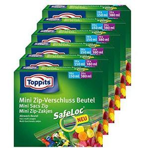 Toppits Mini Zip-Verschluss Beutel 20x150ml und 20x380ml mit SafeLoc ( 6er Pack)
