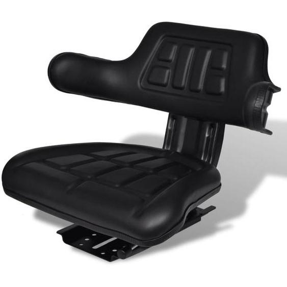 Traktorsitz mit Rückenlehne Schwarz