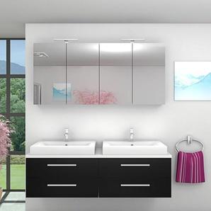 Badmöbel Set City 201 V1 Esche schwarz, Badezimmermöbel, Waschtisch 160cm -17439- mit 2x 5W LED Strahler - ACQUAVAPORE