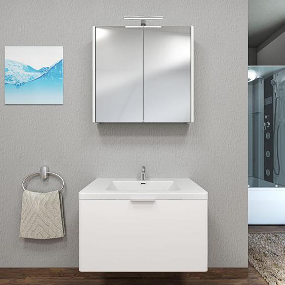 Badmöbel Set Curve 102 V1 MDF weiß, Badezimmermöbel, Waschtisch 80cm -14256- ohne Spiegelschrankbeleuchtung - TRENDBAD24 GMBH & CO. KG