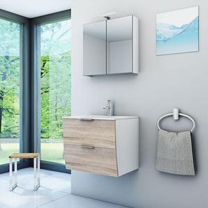 Badmöbel Set Gently 2 V1 weiß / Eiche hell, Badezimmermöbel, Waschtisch 60cm -16554- mit 1x 5W LED Strahler und 1x Energiebox - ACQUAVAPORE