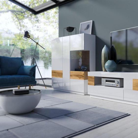 TRENDMANUFAKTUR Wohnwand SILKE, (Set, 2 St.) Einheitsgröße weiß Moderne Wohnwände Schränke