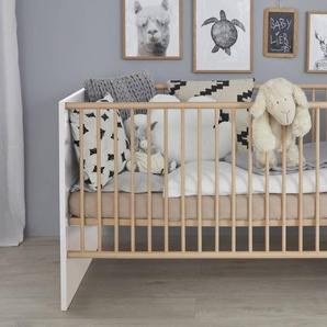 trendteam Babybett, Weiß, Holzoptik
