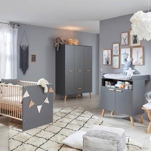 trendteam Babyzimmer-Set, Grau, Holzoptik