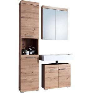 trendteam Badmöbel-Set »Amanda«, (Set, 3-St), mit Spiegelschrank, Hochschrank und Waschbeckenunterschrank, Zwischenböden hinter den Türen, MDF-Fronten in Hochglanz- oder Holzoptik