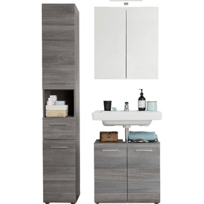trendteam Badmöbel-Set »Skin«, (Set, 3-tlg), Spiegelschrank mit LED-Beleuchtung, Hochschrank und Waschbeckenunterschrank, Fronten in Hochglanz- oder Holzoptik