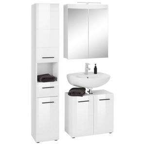 trendteam Badmöbel-Set »Skin«, (Set, 3-tlg), Spiegelschrank mit LED-Beleuchtung, Hochschrank und Waschbeckenunterschrank, mit Fronten in Hochglanzoptik