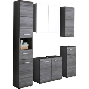 trendteam Badezimmer-Set »Skin«, (Set, 5-tlg), Badezimmerschränke mit Fronten in Hochglanz- oder Holzoptik