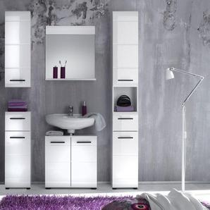 trendteam Badmöbel-Set »Skin«, (Set, 5-St), Badezimmerschränke mit Fronten in Hochglanz- oder Holzoptik