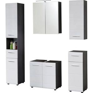 trendteam Badmöbel-Set »Skin«, (Set, 5-tlg), Spiegelschrank mit LED-Beleuchtung, Schränke mit Fronten in Hochglanz- oder Holzoptik