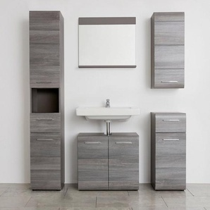 trendteam Badmöbel-Set »Skin«, (Set, 5-tlg), Badezimmerschränke mit Fronten in Hochglanz- oder Holzoptik