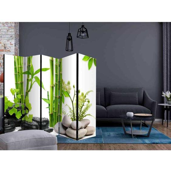 Trennwand Paravent mit Steinen und grünem Bambus 225 cm breit