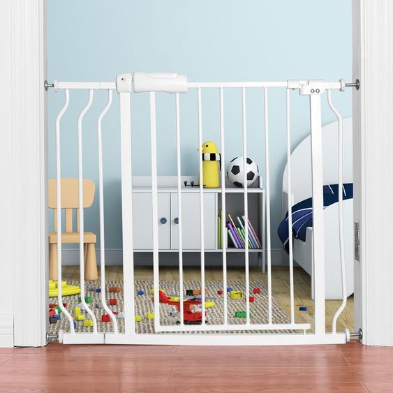 Treppenschutzgitter Babygitter Schutzgitter ohne Bohren  erweiterbar von 74-98cm Weiß