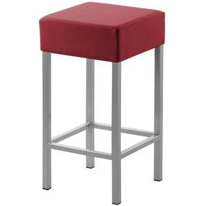 Tresenhocker Metall perlsilber Kunstleder rot,  Cubus ¦ rot ¦ Maße (cm): B: 34 H: 64 T: 34 Stühle  Barhocker » Höffner