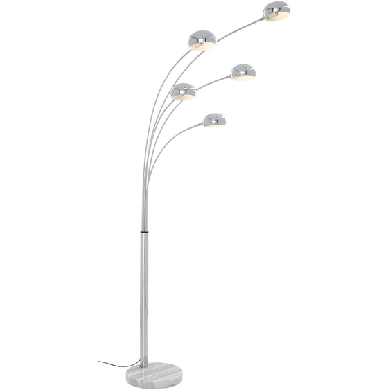 TRIO Leuchten Bogenlampe Five Fingers, E14, Fußschalter, Leuchtmittel tauschbar 5 flg., Ø 13,5 cm Höhe: 205 grau Bogenlampen Stehleuchten Lampen