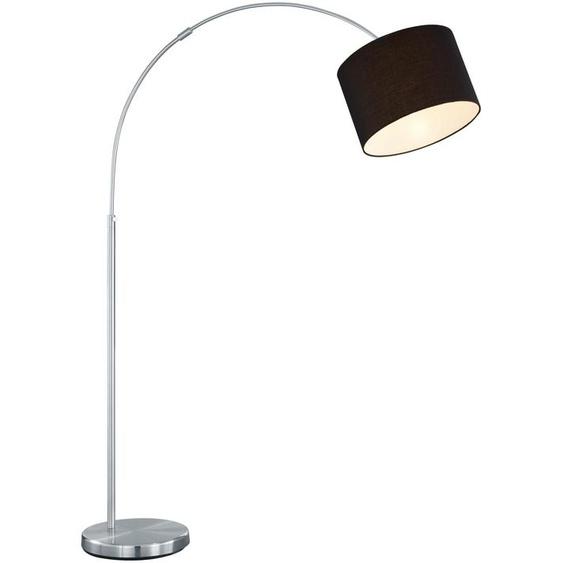 TRIO Leuchten Bogenlampe Hotel, E27, Fussschalter,Höhenverstellbar,Leuchtmittel tauschbar 1 flg., Ø 30 cm Höhe: 150 schwarz Bogenlampen Stehleuchten Lampen