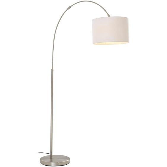 TRIO Leuchten Bogenlampe Hotel, E27, Fussschalter,Höhenverstellbar,Leuchtmittel tauschbar 1 flg., Ø 30 cm Höhe: 150 weiß Bogenlampen Stehleuchten Lampen